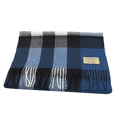 BURBERRY 經典格紋喀什米爾長圍巾(藍黑)