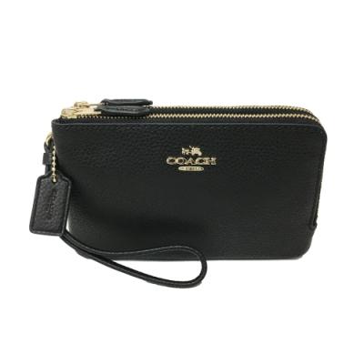 COACH L型雙層拉鍊手拿包零錢包(全皮-黑)