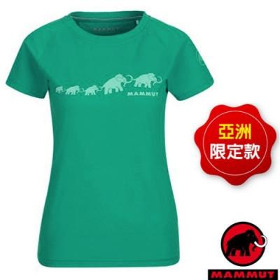 長毛象 女款 QD Logo Print AF 吸濕快乾彈性圓領短袖排汗衣.T恤_暗綠瓷 PRT3