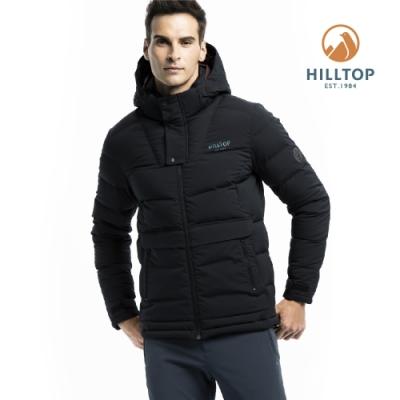 【hilltop山頂鳥】男款超潑水保暖蓄熱羽絨短大衣F22MZ1魚子醬黑