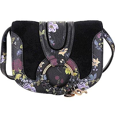 SEE BY CHLOE HANA 迷你款 編織金屬圈印花麂皮肩背包(黑色)