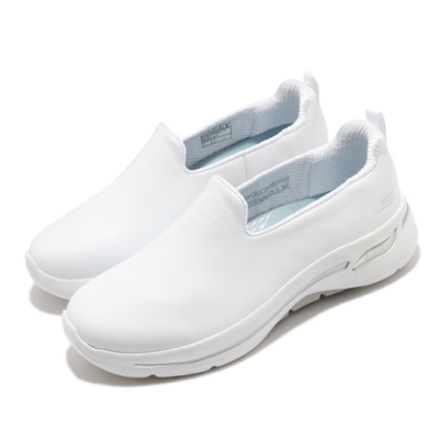 Skechers 休閒鞋 Go Walk Arch Fit 套入 女鞋 寬楦 醫生推薦鞋墊 健走郊遊 回彈避震 白 銀 124414WWHT