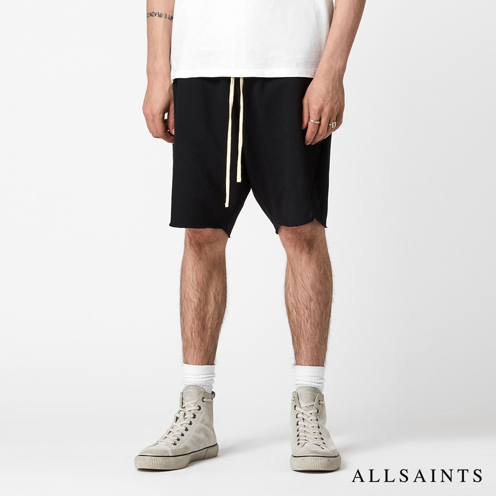 ALLSAINTS HELIX 休閒極簡素面抽繩棉質混紡短褲-烏黑