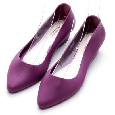 River&Moon防水鞋 晴雨二穿超Q軟極簡素面尖頭楔型跟鞋 夢幻紫