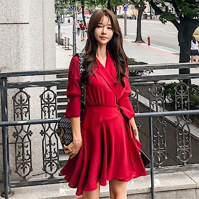 DABI 韓系簡約西裝領收腰綁帶蝴蝶結短袖洋裝
