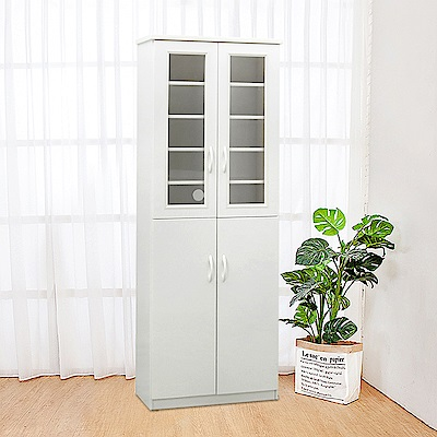 Bernice-防潮防蛀塑鋼2.2尺四門透視高鞋櫃(四色可選)66x34x180cm
