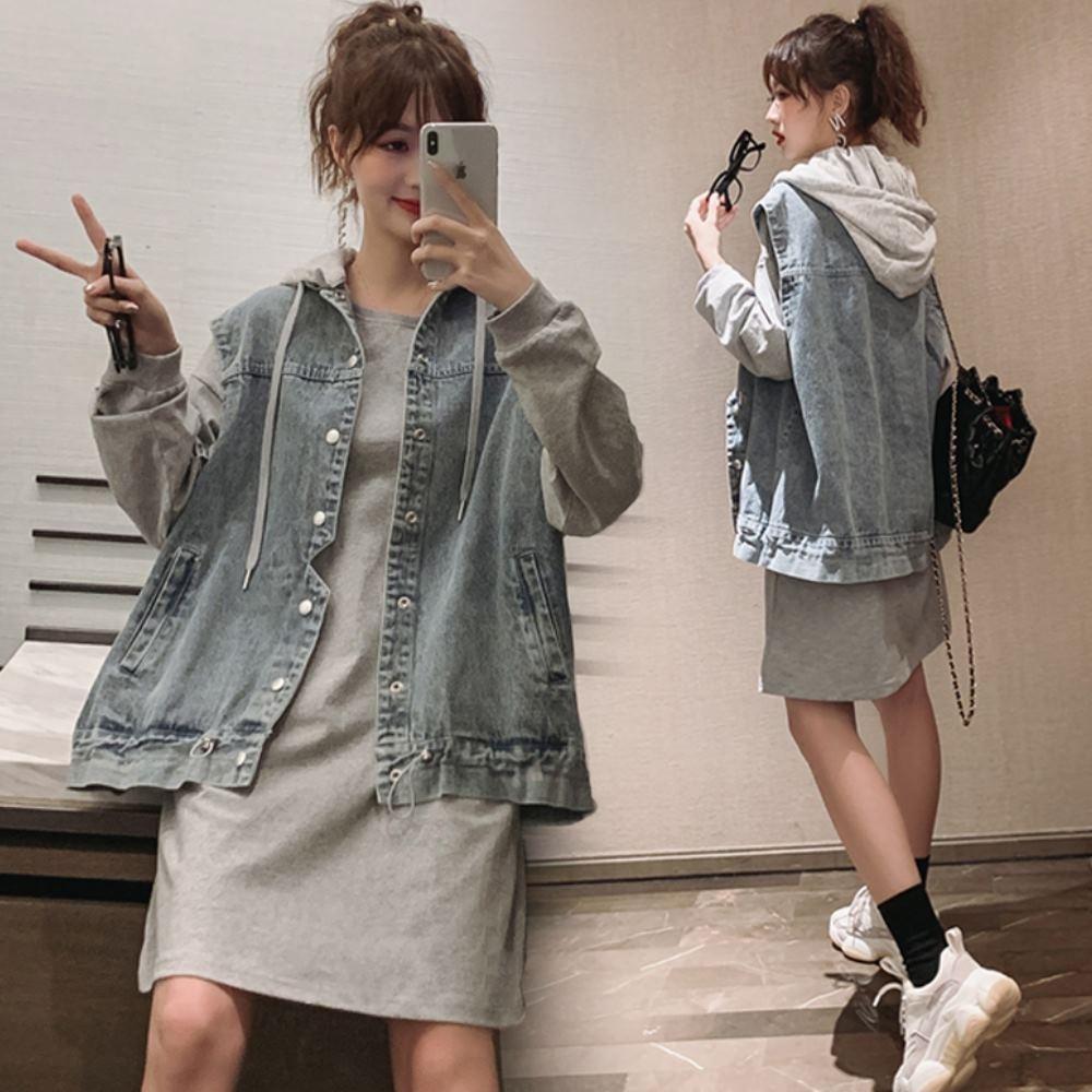 MOCO圓領素色束口長袖衛衣棉料連身洋裝L~4L