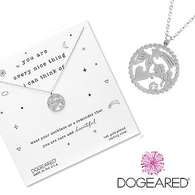 Dogeared 獨角獸X愛心X翅膀X流星 鑲鑽幸運錢幣項鍊 銀色 美麗富足智慧 附原廠盒