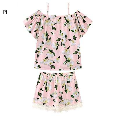 aimerfeel 花卉平口蕾絲成套家居服-粉紅色 807079-PI
