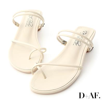 D+AF 清新夏氛.交叉套指2way圓跟涼鞋*米白