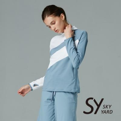 【SKY YARD 天空花園】小立領異色拼接上衣-藍色