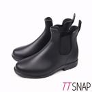 TTSNAP雨靴-圓頭細緻卻爾西短筒防水靴 黑