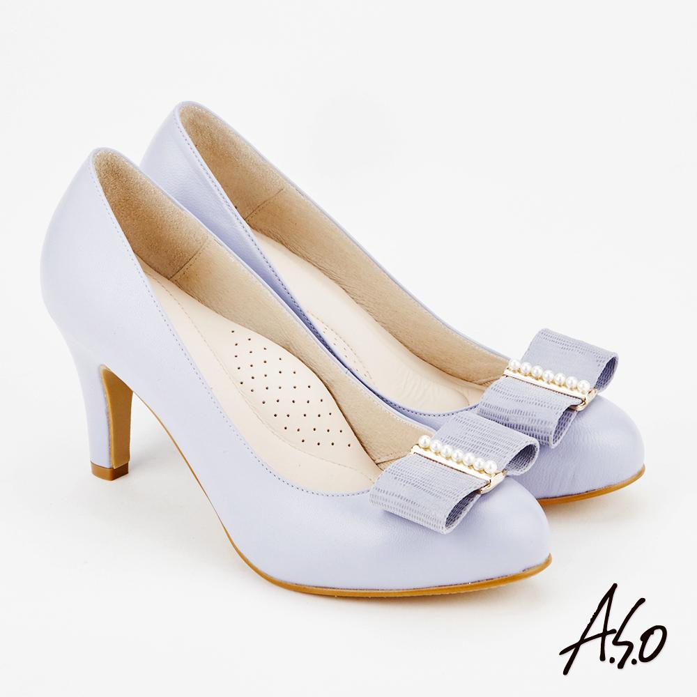 A.S.O 雅緻魅力 時尚流行經典蝴蝶結高跟鞋 紫
