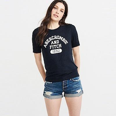 麋鹿 AF A&F 經典印刷文字設計短袖T恤(女)-深藍色