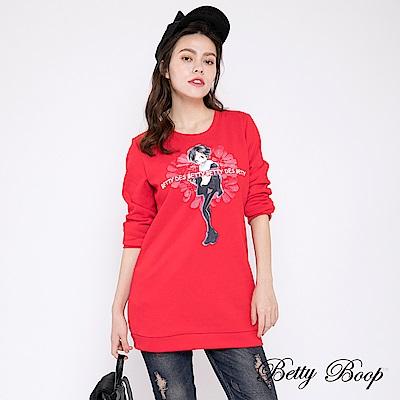 Betty Boop貝蒂 膠印圓領長版柔棉上衣(共兩色)