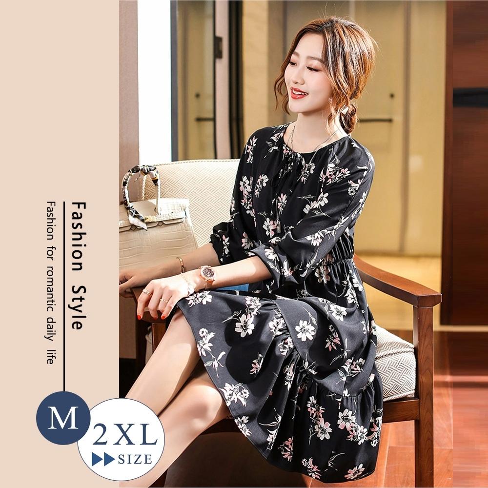 悠美學-韓系中大碼花卉造型洋裝-黑色(M-2XL)