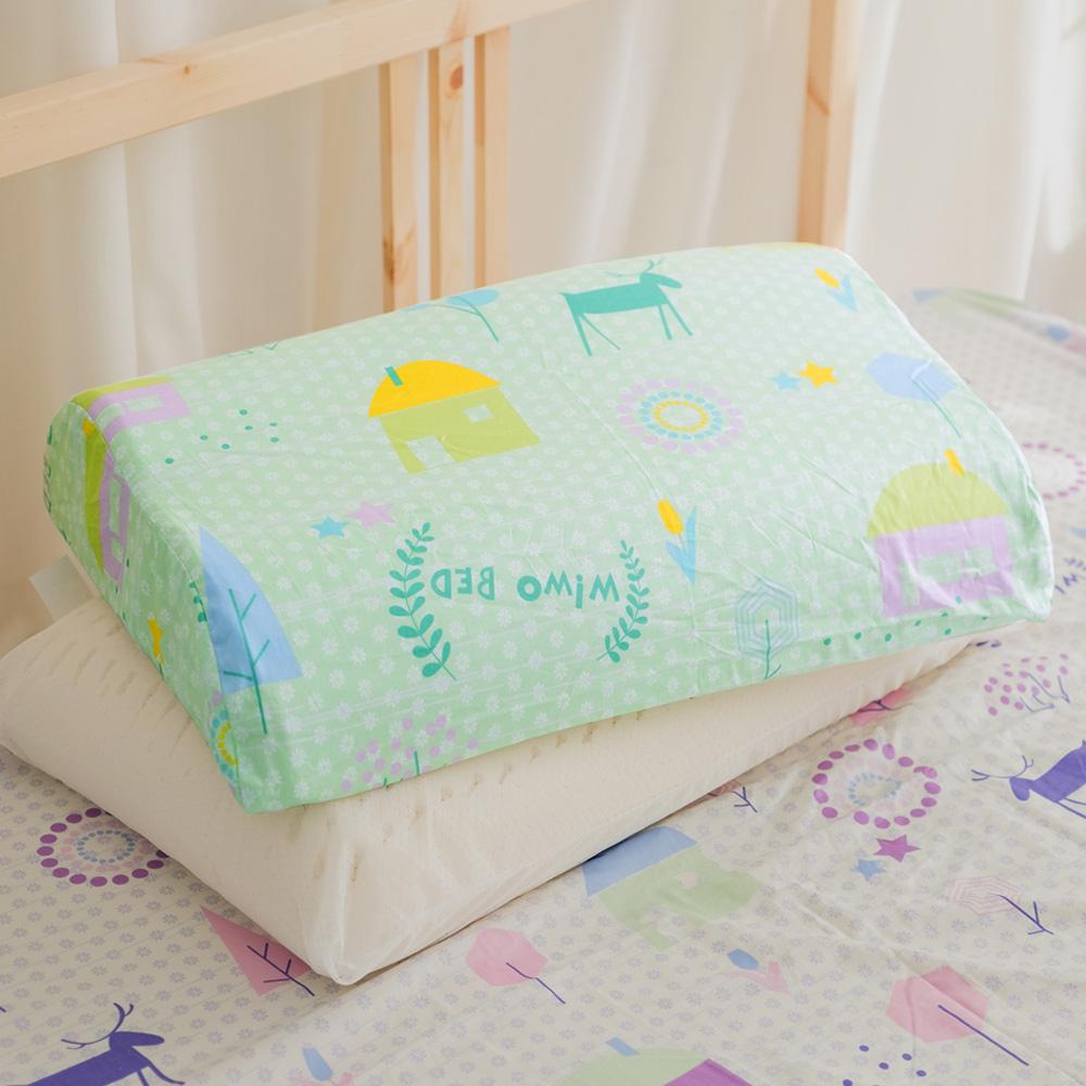 米夢家居-夢想家園系列-工學枕專用100%精梳純棉枕頭布套-青春綠四入
