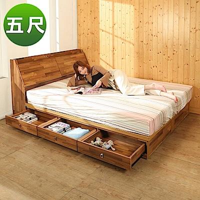 BuyJM拼接木系列雙人5尺2件式房間組(床頭箱+6抽床底)-免組
