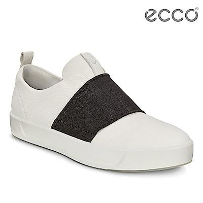 ECCO SOFT 8 LADIES簡約撞色鬆緊帶設計休閒鞋 女-白