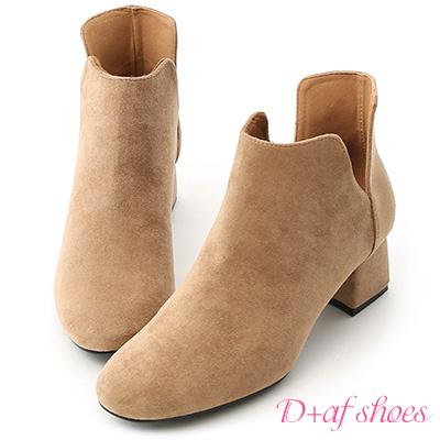 D+AF 俐落Life.側V口絨料及踝短靴*杏