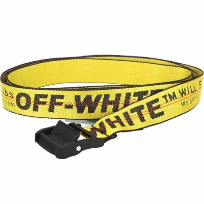 Off-White 品牌字母寬版織紋腰帶(黃色)