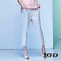 IGD英格麗 粉嫩天絲棉九分打褶錐形褲