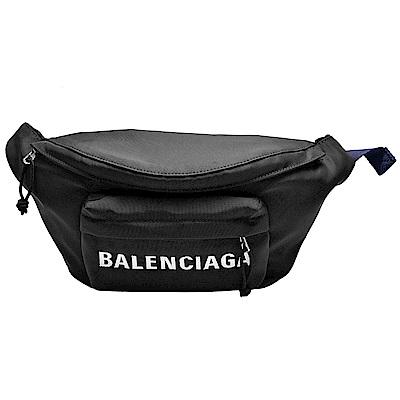 BALENCIAGA WHEEL系列品牌字母刺鏽防潑水尼龍布拉鍊腰包/斜背包(黑X海軍藍)