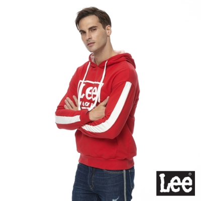 Lee 連帽厚T 方框logo 男 紅