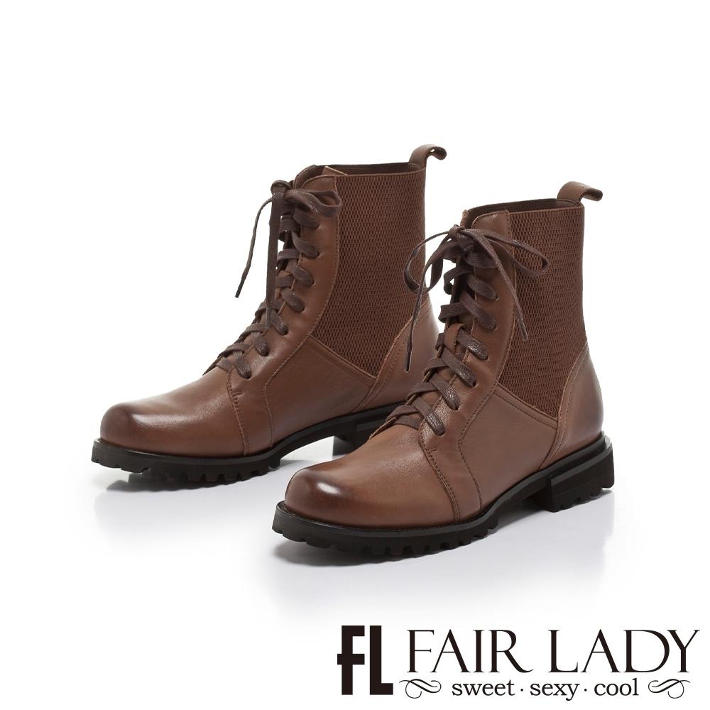 FAIR LADY 質感異材質拼接側鬆緊機車靴 咖