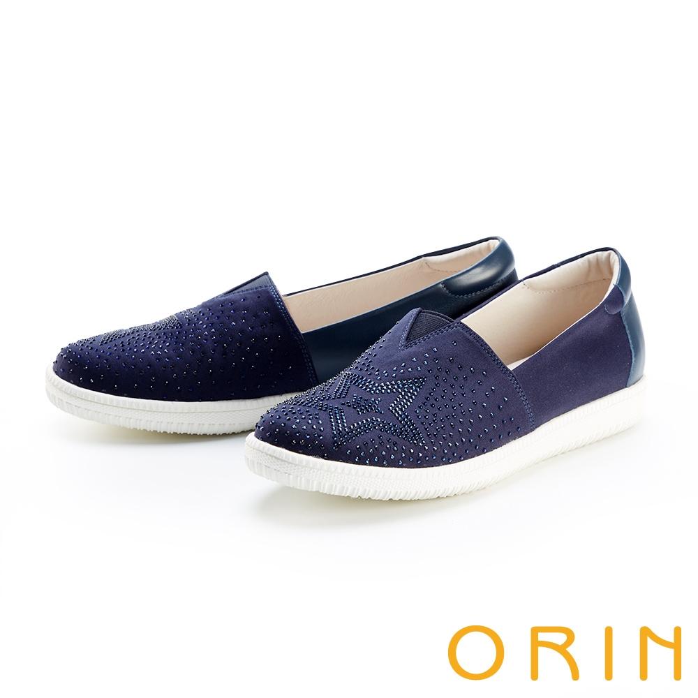 ORIN 星星燙鑽平底 女 休閒鞋 藍色