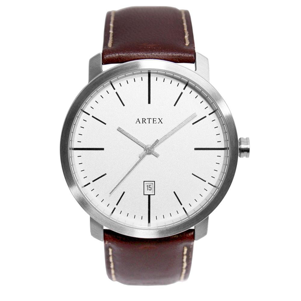 ARTEX 5936真皮手錶-褐色/霧銀42mm 有日期窗