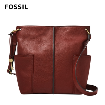 FOSSIL Lane 優雅真皮水桶包-磚紅色 ZB1321227