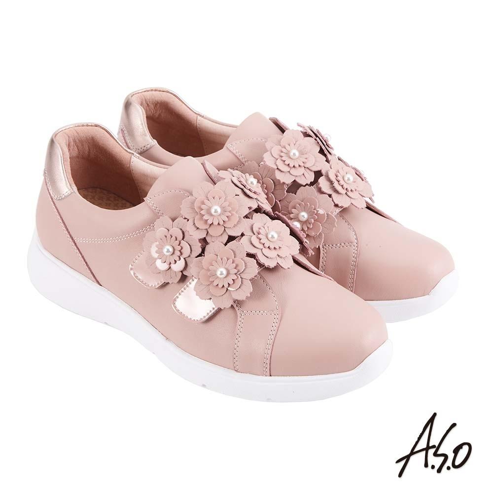A.S.O 時尚流行 Q彈紓壓花朵魔鬼氈條帶休閒鞋-粉紅