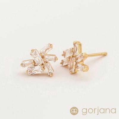 GORJANA 公主切割方鑽層次拼接耳環 Amara Cluster Studs