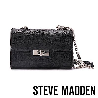 STEVE MADDEN-BKAMMY-經典LOGO壓紋金屬鍊帶包-黑色