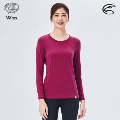 ADISI 女美麗諾混紡羊毛圓領彈性保暖衣AU2021031 / 桃紫