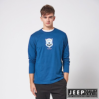JEEP 3D圖騰休閒長袖TEE -藍色