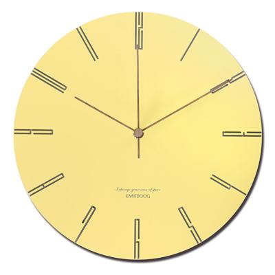 12吋 居家擺飾 輕薄簡約 邊緣數字設計 餐廳客廳臥室 靜音 圓掛鐘 - 黃色