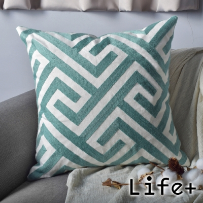 Life Plus 幾何繡花 棉麻舒適方型抱枕.靠枕 (綠迷宮)
