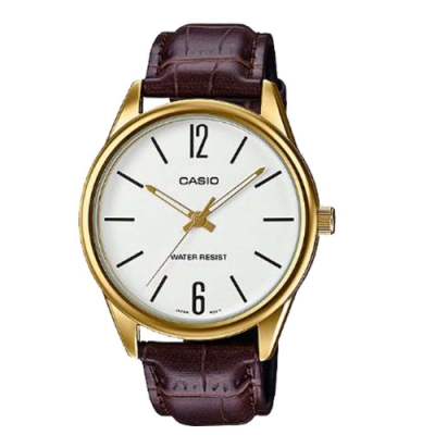 CASIO 簡約風範數字時刻皮帶腕錶(MTP-V005GL-7B)金框X白面/47mm