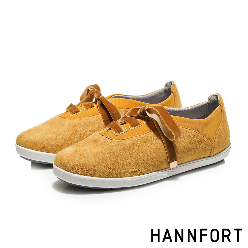HANNFORT CALIFORNIA法式絲絨蝴蝶結休閒鞋-女-芒果黃