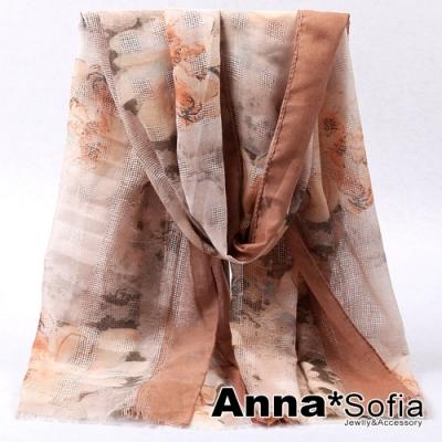 【滿688打75折】AnnaSofia 蔓蕾交織鏤網 柔軟大披肩圍巾(黃卡其系)