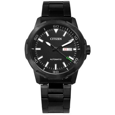 CITIZEN 星辰表 星期日期自動上鍊機械錶不鏽鋼手錶-鍍黑/44mm