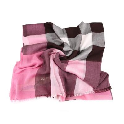 BURBERRY 經典格紋墨代爾絲羊絨寬版長披巾 Rose Pink (粉紅)