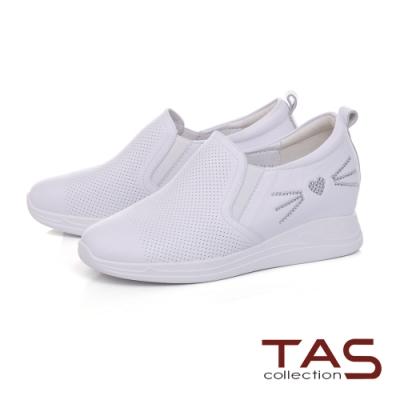 TAS沖孔牛皮拼接水鑽貓咪造型內增高休閒鞋-閃耀白