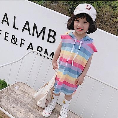 小衣衫童裝  女童夏裝彩虹條紋連帽無袖長版T裙1080509