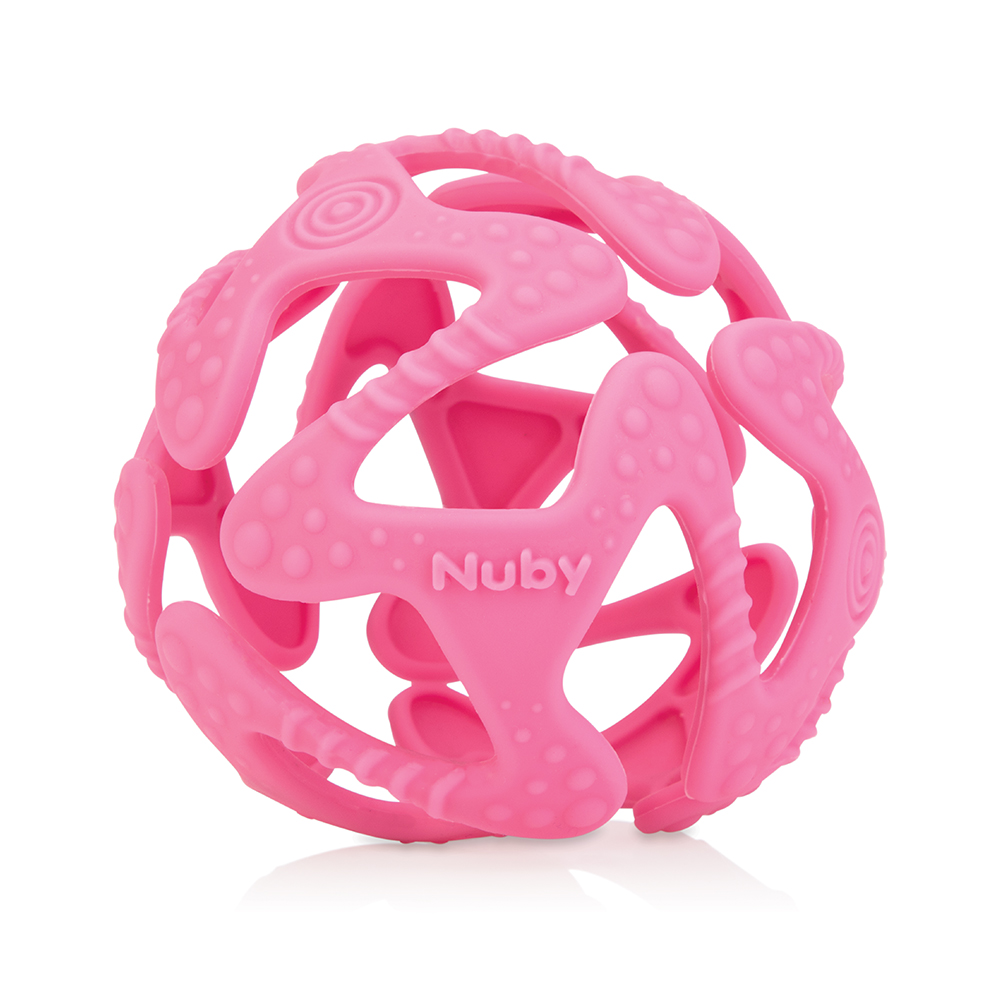 Nuby 矽膠咬咬球-粉色(3M+)