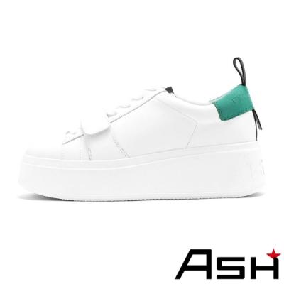 ASH-MIRACLE魔術貼設計亮色厚底小白鞋-綠