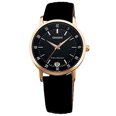 ORIENT東方簡約質感皮革女錶手錶-黑X玫瑰金框/31mm