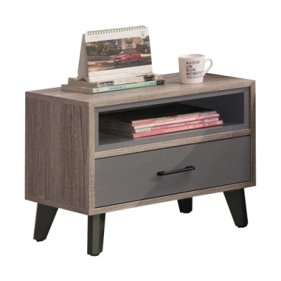 文創集 庫克現代1.8尺單抽床頭櫃/收納櫃-55x40x47cm免組
